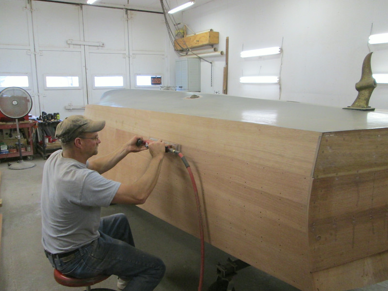 Starting to sand the starboard side.