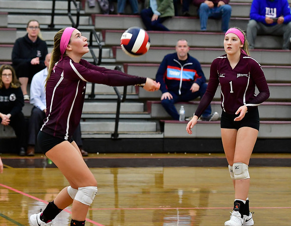 10/15/2019 Mike Orazzi | Staff Bristol Central's Ashleigh Clark (9) and Jadyn Bauer (1) at BC Tuesday night.