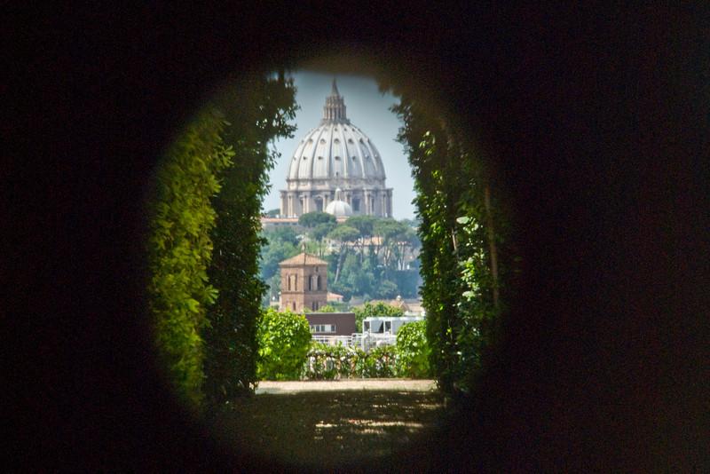 The St. Peter's Basilica dome as seen through keyhole - Rome, Italu