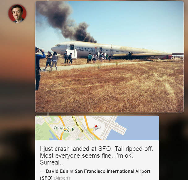 . A screenshot of a photo taken by passenger David Eun and posted on the Path social network shortly after Saturday\'s crash at San Francisco airport.