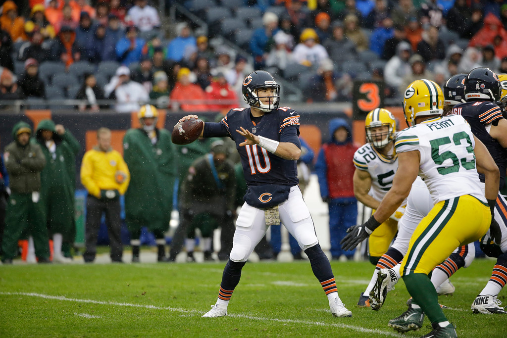. Chicago Bears quarterback Mitchell Trubisky (10) throws during the first half of an NFL football game against the Green Bay Packers, Sunday, Nov. 12, 2017, in Chicago. (AP Photo/Nam Y. Huh)