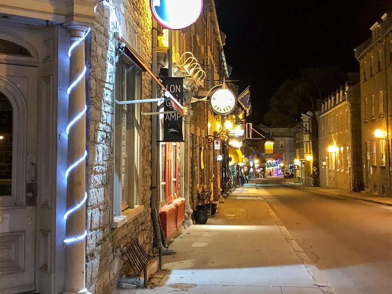 Quebec City street at night