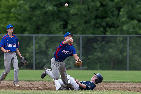 06/19/19 Wesley Bunnell | Staff Berlin Legion vs Newington at Legends Field in Newington on June 19, 2019. Dan Veleas (25) attempts to turn the double play with Newington's J. Coleman (43) sliding in.