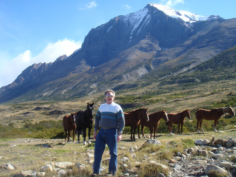 Dad with the horses near an estancia near Torres del Paine National Park, Chile.