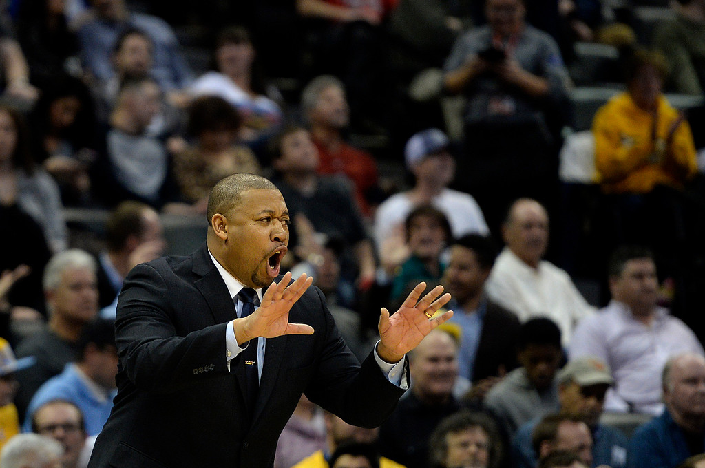 . DENVER, CO - MARCH 03: Melvin Hunt of the Denver Nuggets reacts to the play of his team during the second half of a 106-95 Nuggets win over the Milwaukee Bucks. The Denver Nuggets hosted the Milwaukee Bucks at the Pepsi Center on Tuesday, March 3, 2015. (Photo by AAron Ontiveroz/The Denver Post)