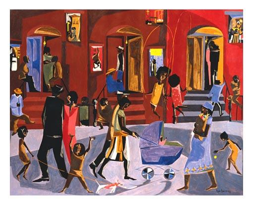 "Jacob Lawrence, ""Brownstones,"" 1958"