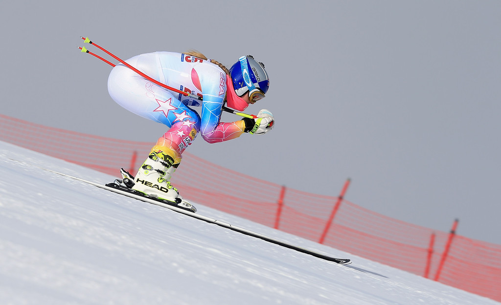 . Lindsey Vonn takes a downhill training run at the U.S. Ski Team Speed Center at Copper Mountain on November 6, 2013 in Copper Mountain, Colorado.  (Photo by Doug Pensinger/Getty Images)