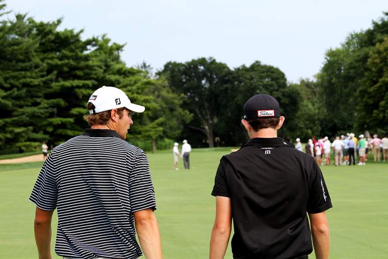No. 2 ranked Amateur Peter Uihlein, 21, of Orlando, Fla., (left) and No. 1 ranked Amateur Patrick Cantlay, 19, of Los Alamitos, Calif., walk down the fairway during their afternoon match Friday.