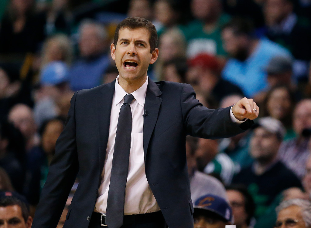 . Boston Celtics head coach Brad Stevens instructs his team during the second half of Game 1 of the NBA basketball Eastern Conference Finals against the Cleveland Cavaliers, Sunday, May 13, 2018, in Boston. (AP Photo/Michael Dwyer)