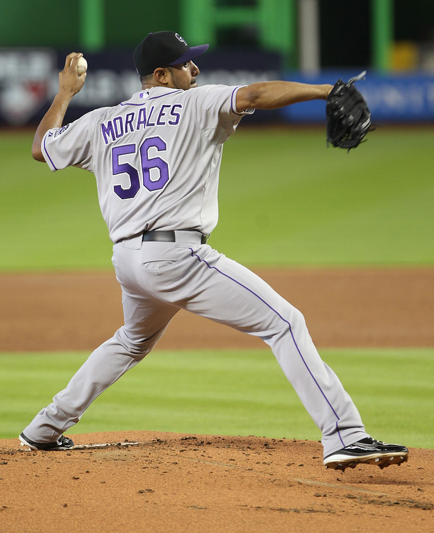 . Pitcher Franklin Morales #56 of the Colorado Rockies throws against the Miami Marlins during the first inning at Marlins Park on April 3, 2014 in Miami, Florida.  (Photo by Marc Serota/Getty Images)
