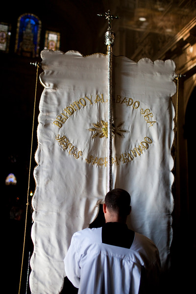 Religious standard, Corpus Christi procession, Seville, Spain, 2009.