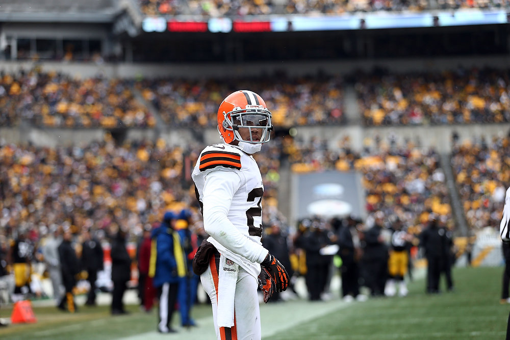 Description of . Joe Haden #23 of the Cleveland Browns looks on during the game against the Pittsburgh Steelers at Heinz Field on December 30, 2012 in Pittsburgh, Pennsylvania.  (Photo by Karl Walter/Getty Images)