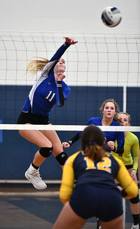 11/16/2019 Mike Orazzi | StaffrBristol Easterns Ryley Plourde (11) during the 2019 State Girls Volleyball Tournament Class L Quarterfinals at BEHS in Bristol Saturday.