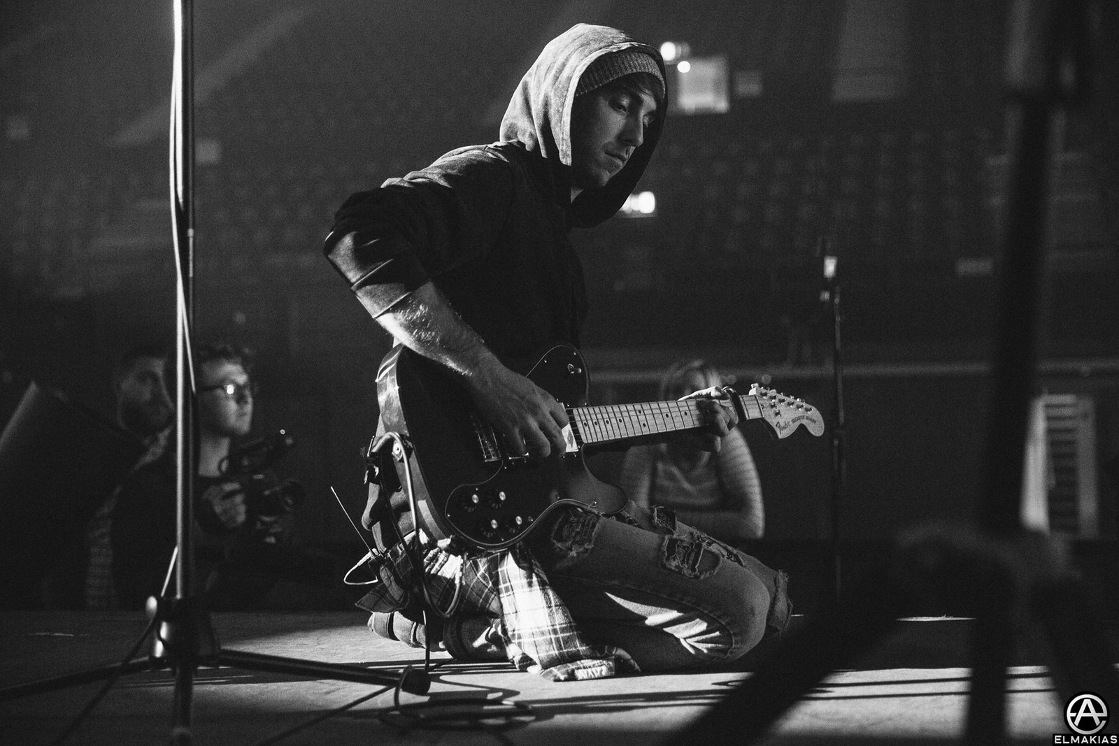 Alex Gaskarth of All Time Low sound checking at Wembley Arena