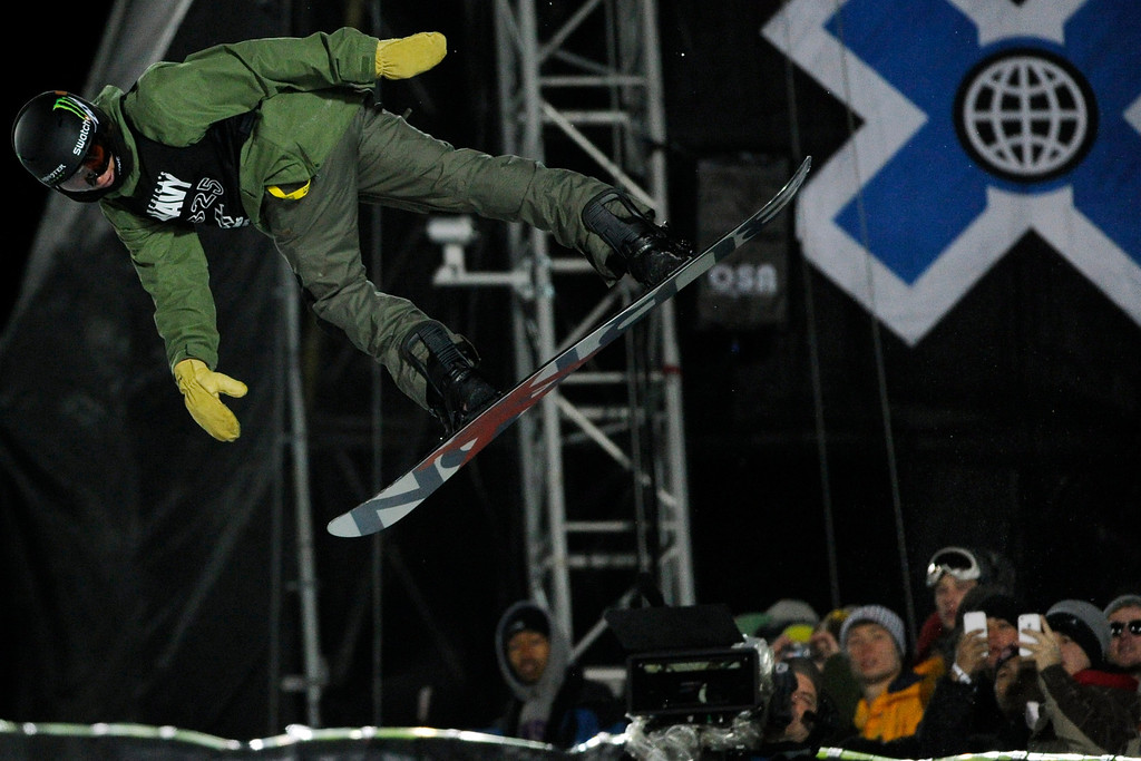. ASPEN, CO - JANUARY 27: Christian Haller makes a hit during the men\'s snowboard superpipe final. X Games Aspen Buttermilk Mountain Aspen January 27, 2013. (Photo By Daniel Petty/The Denver Post)