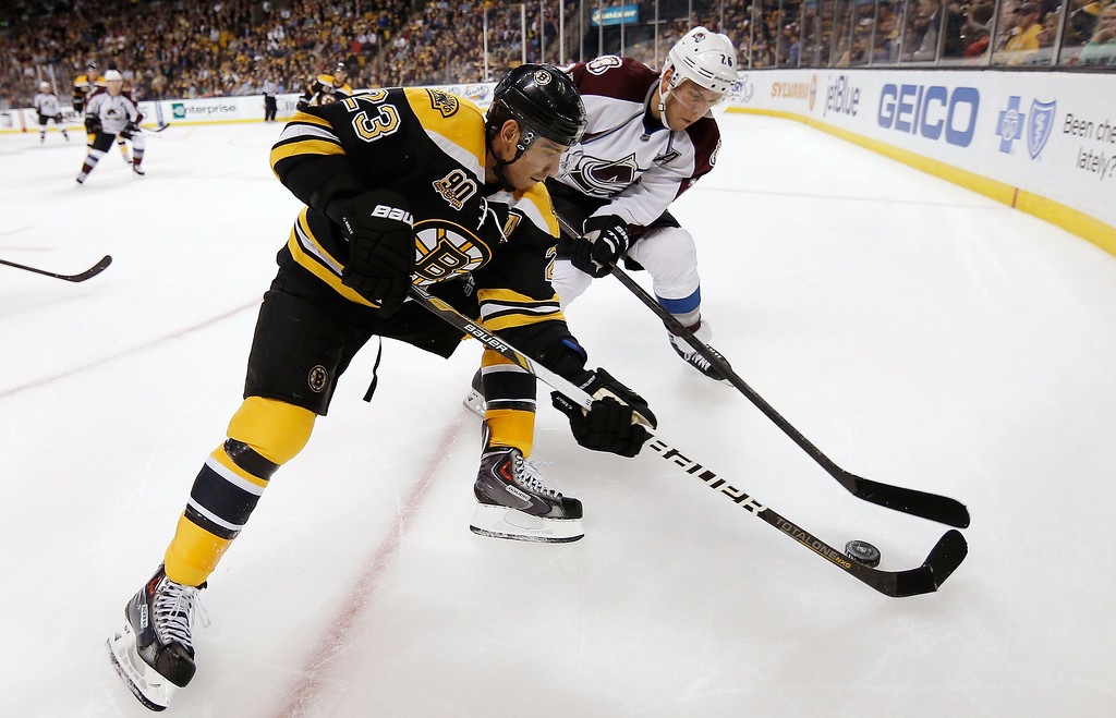 . Boston Bruins\' Chris Kelly (23) can\'t control the puck with a broken stick as Colorado Avalanche\'s Paul Stastny moves in during the third period of Colorado\'s 2-0 win in an NHL hockey game in Boston on Thursday, Oct. 10, 2013. (AP Photo/Winslow Townson)