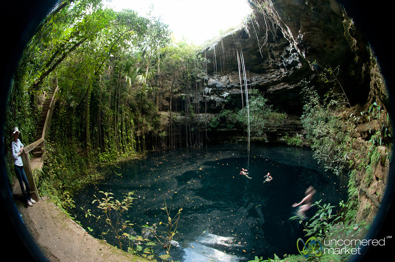 Swimming in Xochempich Cenote - Yucatan, Mexico