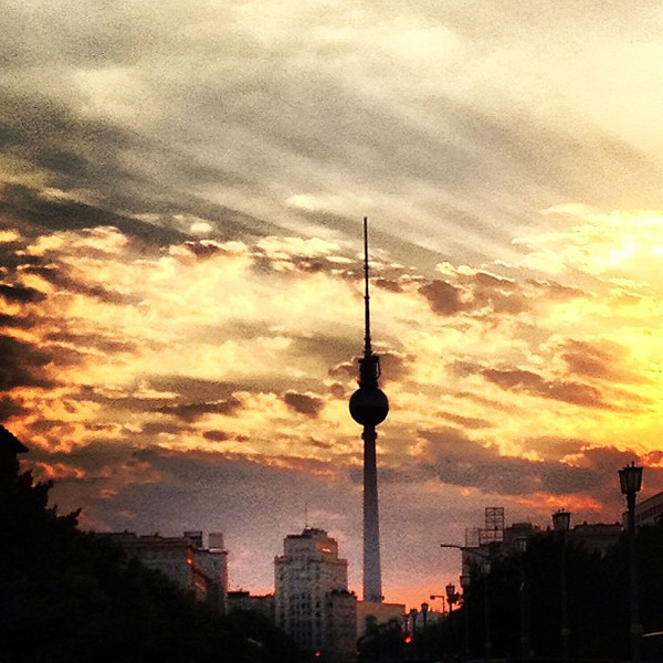 Sky on fire, Berlin style with a little TV tower action down the gut of Karl Marx Allee. #skyporn