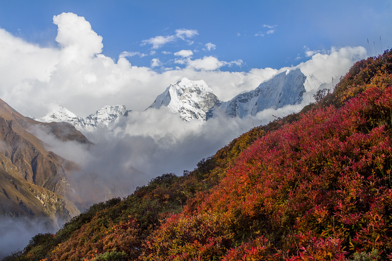 Sharp, jagged Himalayan peaks cut through a clearing storm as seen from Dole in Sagarmatha National Park, Nepal