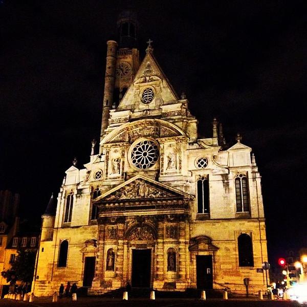 St. Etienne-du-Mont at night, Quartier Latin, Paris #lovingthemoment