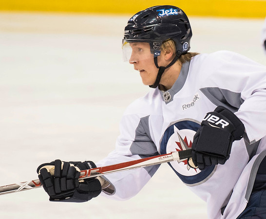 DAVID LIPNOWSKI / WINNIPEG FREE PRESS   Winnipeg Jets #29 Patrick Laine during practice at MTS Centre Sunday January 22, 2017.