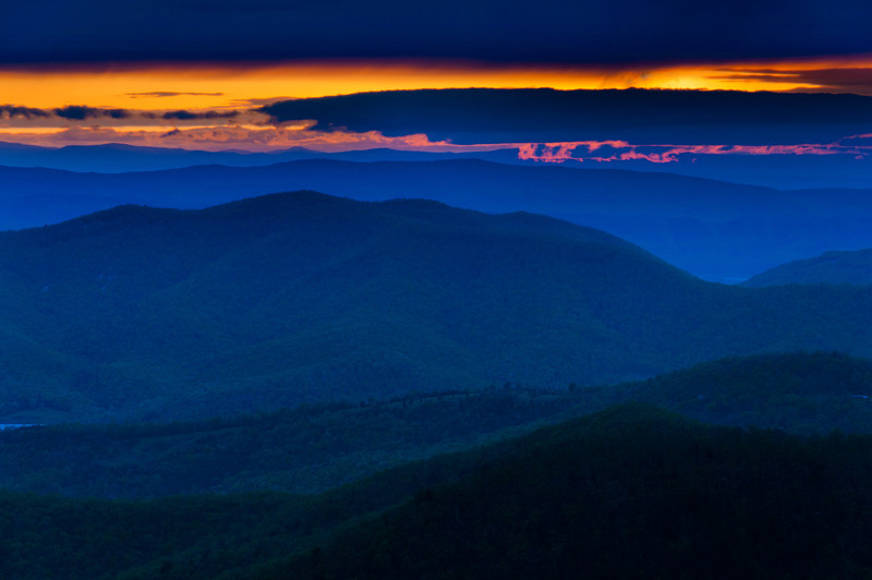 Colorful spring sunset over the Blue Ridge Mountains from Skyline Drive in Shenandoah National Park, Virginia