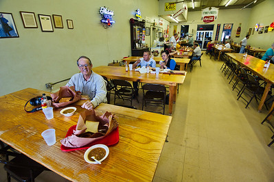 Smitty's Barbeque, Lockhart, TX Jay Mangum enjoying his lunch of brisket and red beans.