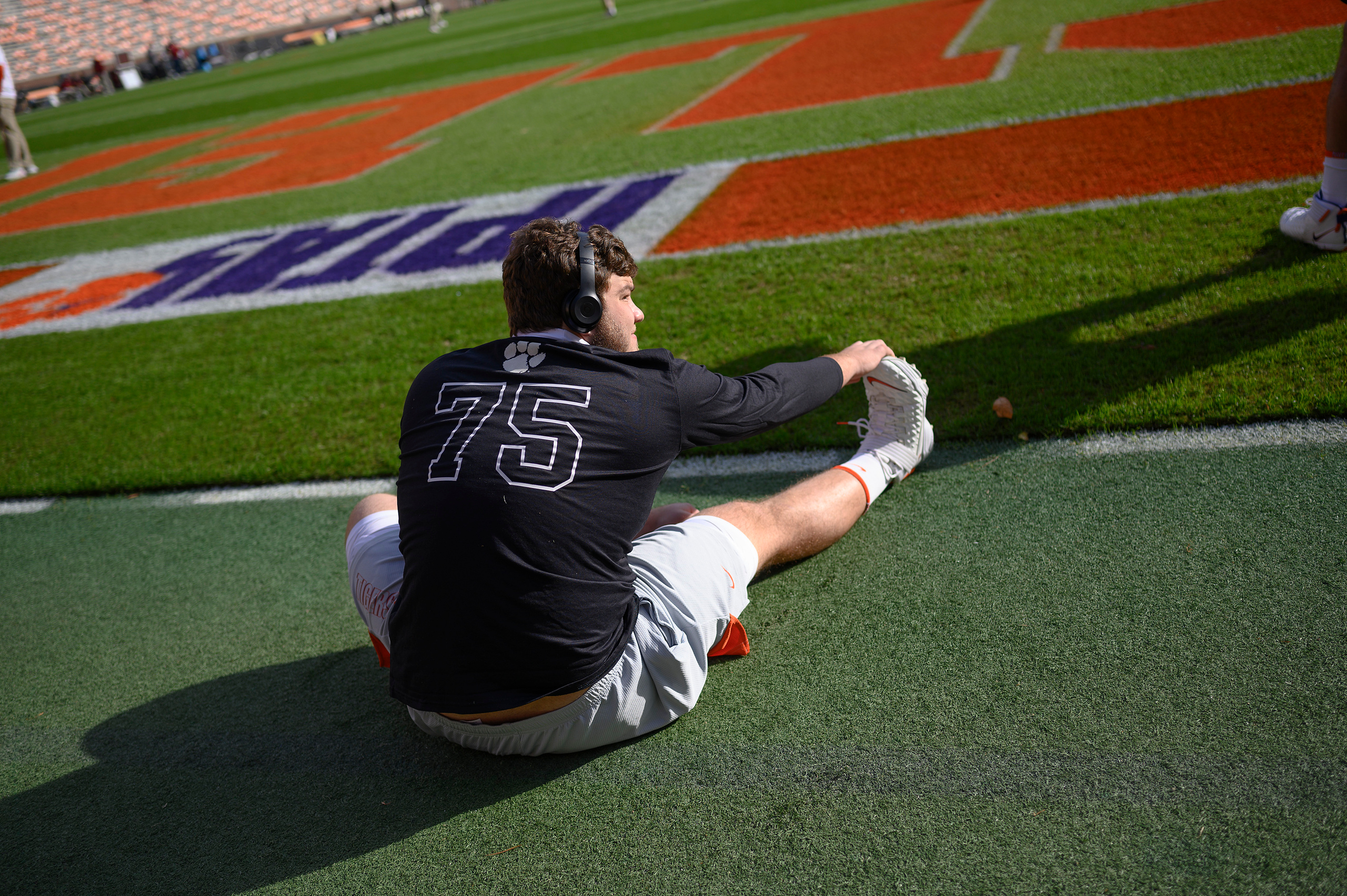Clemson offensive lineman Trent Howard(75) stretches during pregame before the game against Boston College, October 31, 2020; Clemson, South Carolina, USA;  at Memorial Stadium. Mandatory Credit: Josh Morgan -USA TODAY Sports