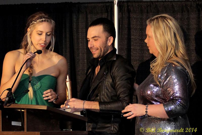 Tanya Ryan & Jody Seeley - present the Big Hair Award to Ryan Langlois of the Boom Chucka Boys - 2014 ACMAs