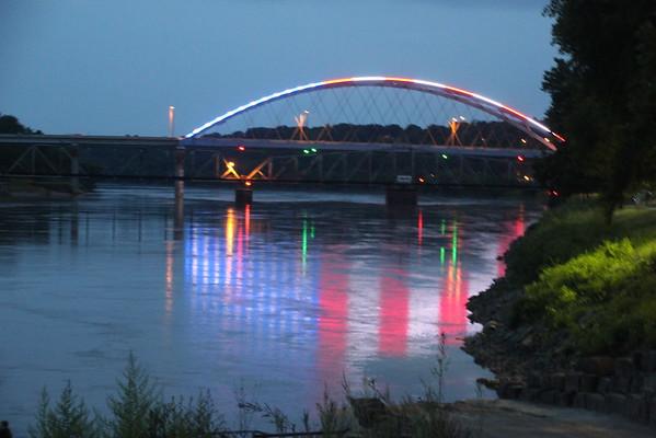 Atchison KS - Night Bridge 2 - Flag