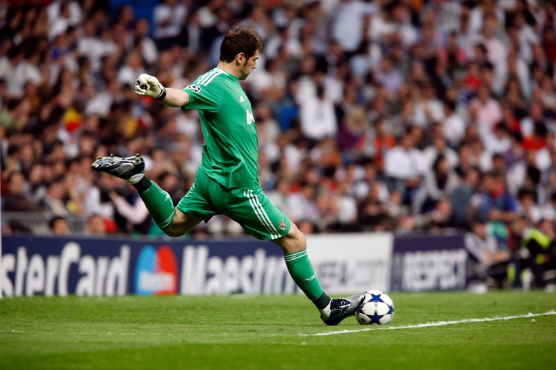 Iker Casillas performing a goal kick, UEFA Champions League Semifinals game between Real Madrid and FC Barcelona, Bernabeu Stadiumn, Madrid, Spain