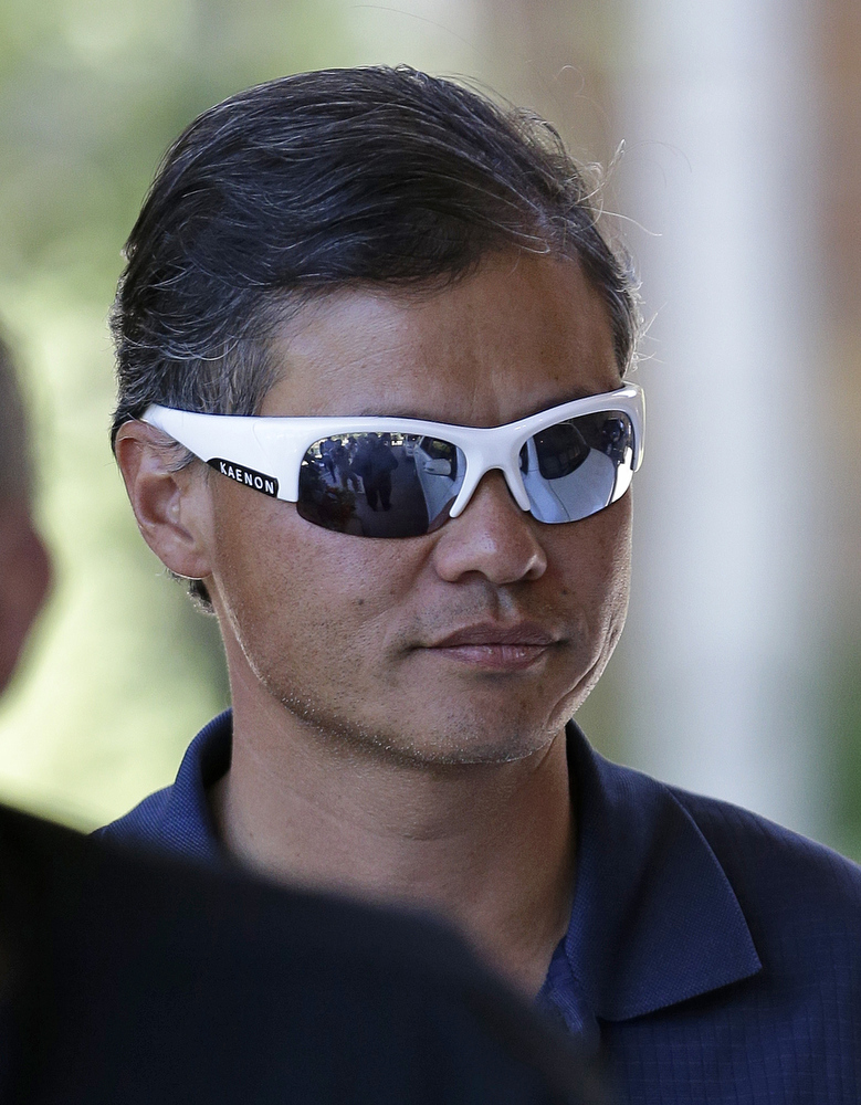 . Jerry Yang, co-founder of Yahoo arrives at the Allen & Company Sun Valley Conference in Sun Valley, Idaho, Tuesday, July 9, 2013. (AP Photo/Rick Bowmer)