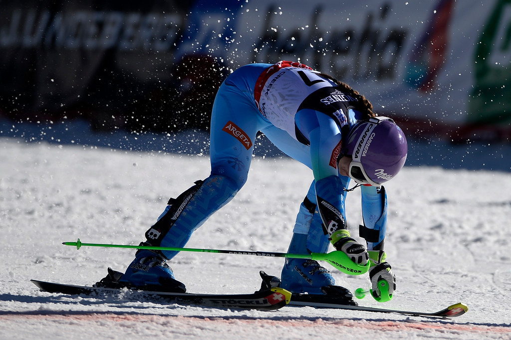 . BEAVER CREEK, CO - FEBRUARY 09: Tina Maze stretches to capture first during the ladies\' alpine combined final. FIS Alpine World Ski Championships 2015 on Monday, February 9, 2015. (Photo by AAron Ontiveroz/The Denver Post)