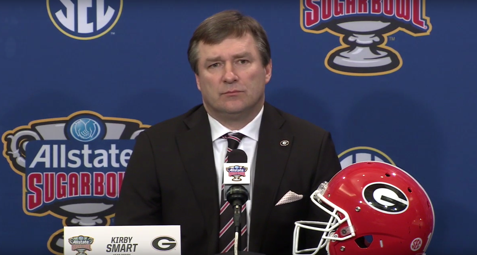 UGA head coach Kirby Smart during the Sugar Bowl pregame press conference on Tuesday, December 31, 2019