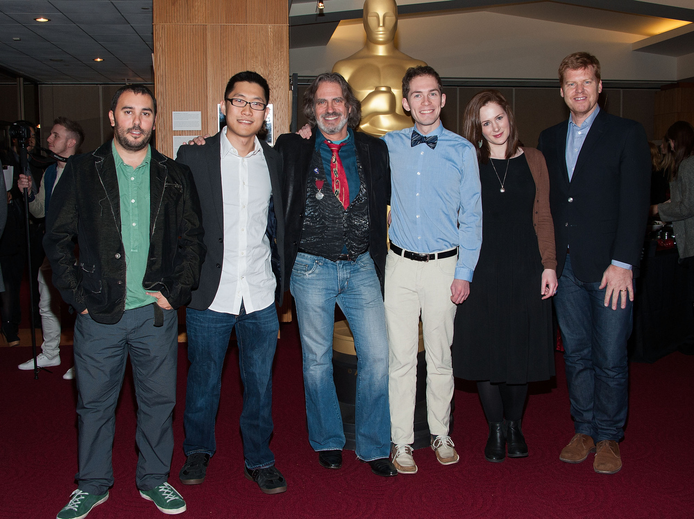 Description of . Pes, Minkyu Lee, David Silverman, Timothy Reckart, Fodhla Cronin O'Reilly and John Kahrs attends  The Academy Of Motion Picture Arts And Sciences Presents Oscar Celebrates: Shorts  at AMPAS Samuel Goldwyn Theater on February 19, 2013 in Beverly Hills, California. (Photo by Valerie Macon/Getty Images)