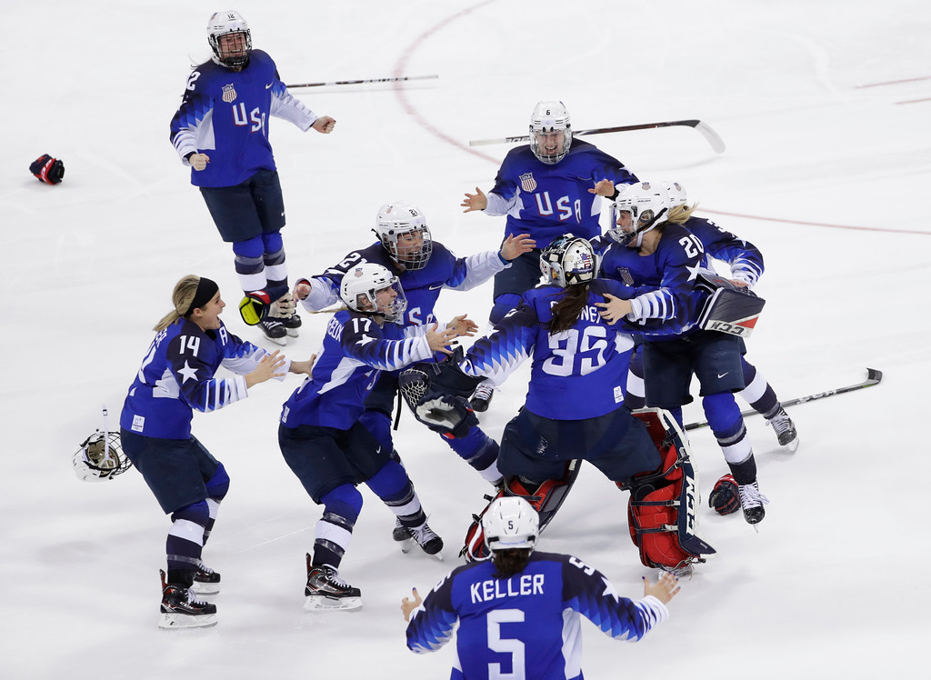 . United States celebrates winning gold in the women\'s gold medal hockey game against Canada at the 2018 Winter Olympics in Gangneung, South Korea, Thursday, Feb. 22, 2018. (AP Photo/Matt Slocum)