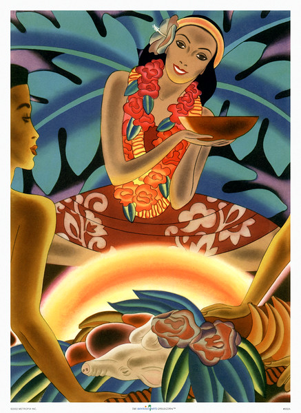 002: Frank Macintosh: 'Luau' - Hawaiian Cruise Line steam ship menu. Ca. 1940. Without a doubt one of Frank Macintosh's best crafted images featuring a Hawaiian luau attended by beautiful Hawaiian people and kailua pig.