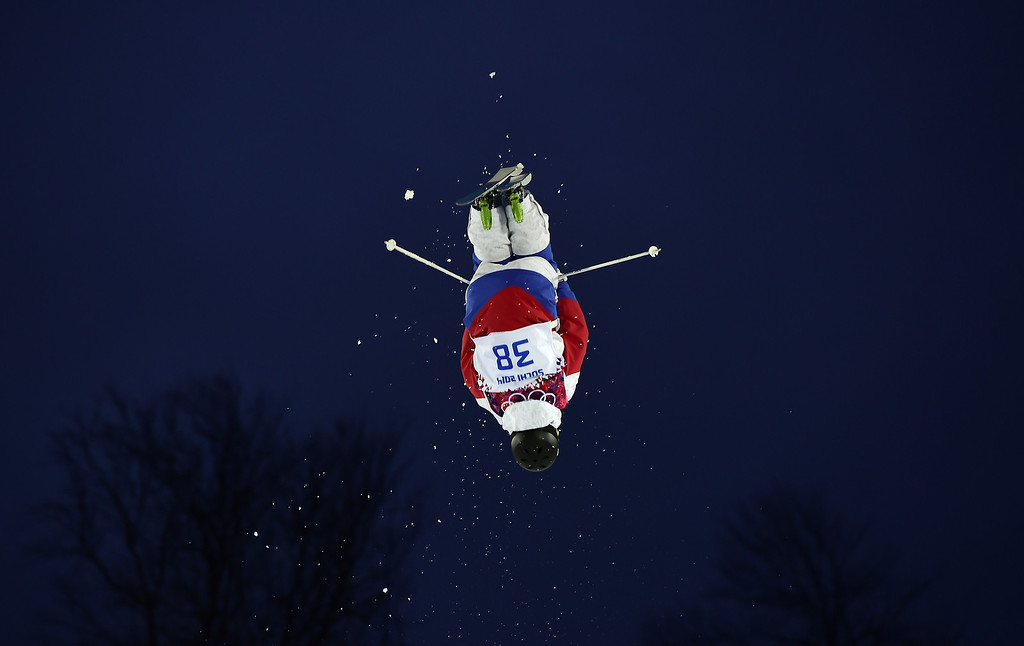 . Russia\'s Aleksey Pavlenko competes in the Men\'s Freestyle Skiing Moguls qualifications at the Rosa Khutor Extreme Park during the Sochi Winter Olympics on February 10, 2014.      AFP PHOTO / JAVIER SORIANO/AFP/Getty Images
