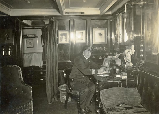 Capt. Davidson in his cabin.