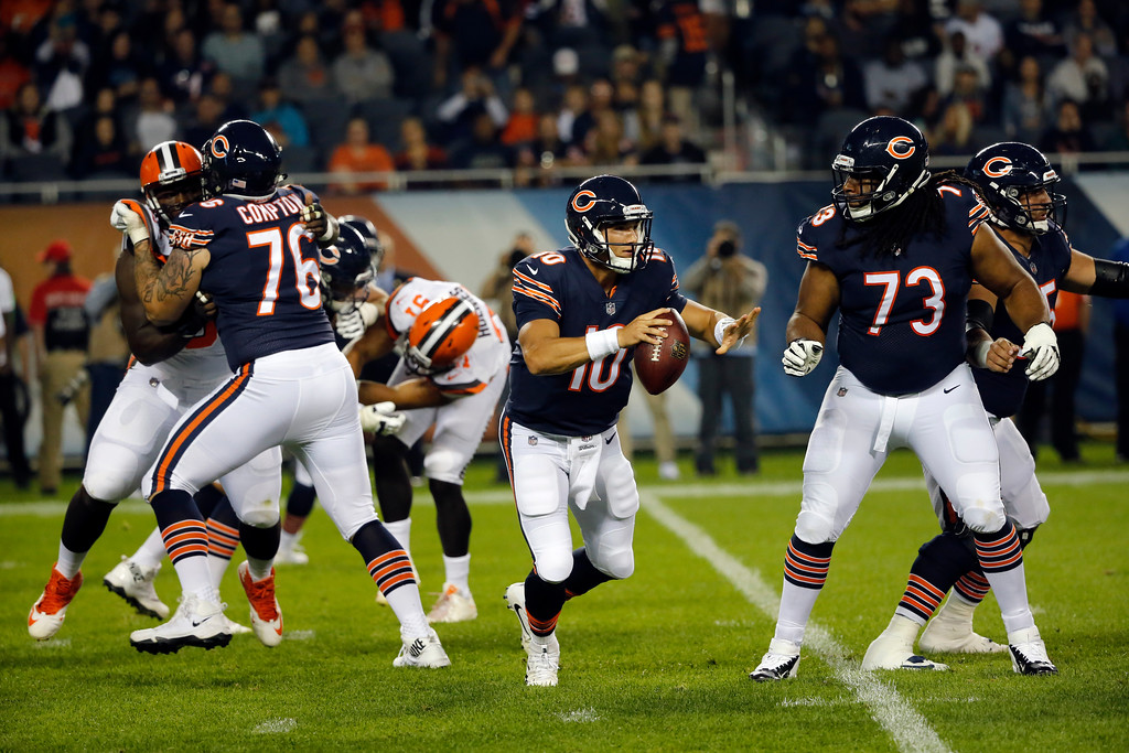 . Chicago Bears quarterback Mitchell Trubisky (10) scrambles during the first half of an NFL football game against the Cleveland Browns, Thursday, Aug. 31, 2017, in Chicago. (AP Photo/Charles Rex Arbogast)