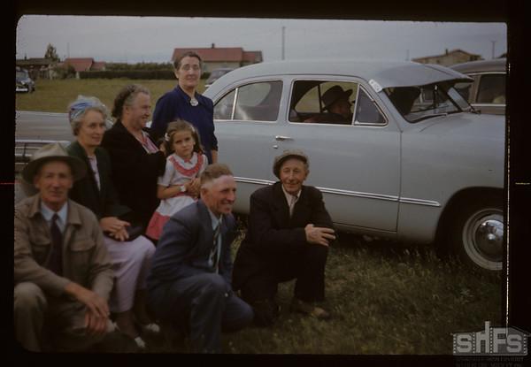 Watching the game - Bracken picnic. J. Talbots & Peterson Tobin. Mrs. J. McMillam & Elaine Wright. Bracken.07/04/1951