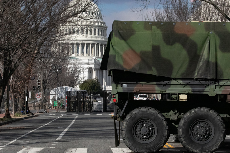 A National Guard vehicle blocks a road in front of the U.S. Capitol during inauguration