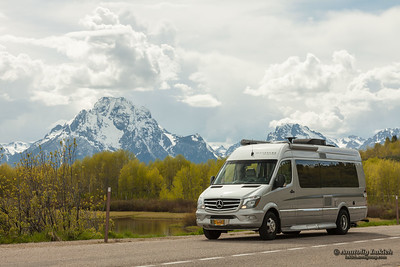 RV in Grand Teton National Park, Wyoming, USA.