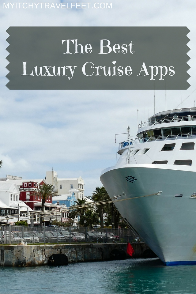 Text on photo: The Best Luxury Cruise Apps. Photo: white cruise ship tied up at a dock.
