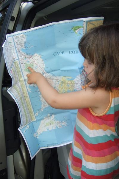 Guen plans our route.