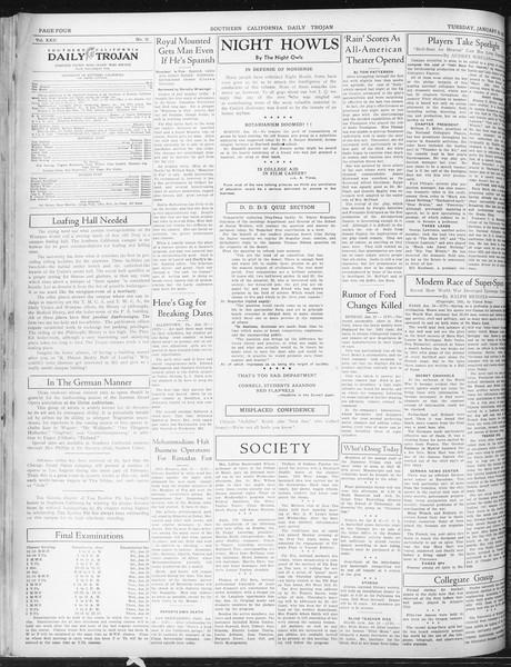 Daily Trojan, Vol. 22, No. 77, January 20, 1931