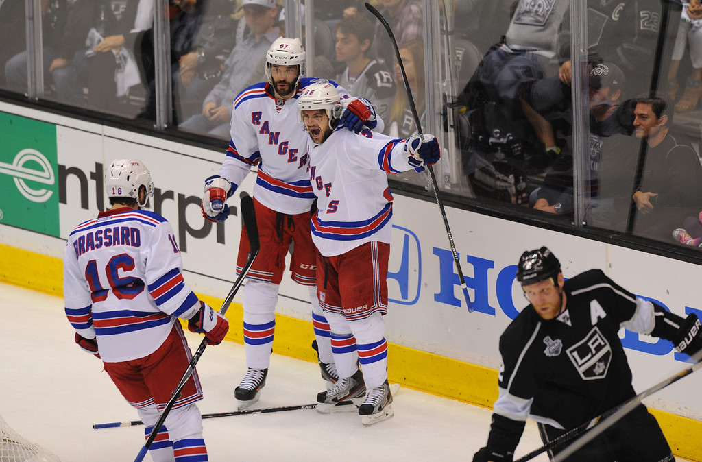. The Rangers\' Mats Zuccarello, right, celebrates his first-period goal against the Kings in the first period in game two of the Stanley Cup Final, Saturday, June 7, 2014, at Staples Center. (Photo by Michael Owen Baker/Los Angeles Daily News)