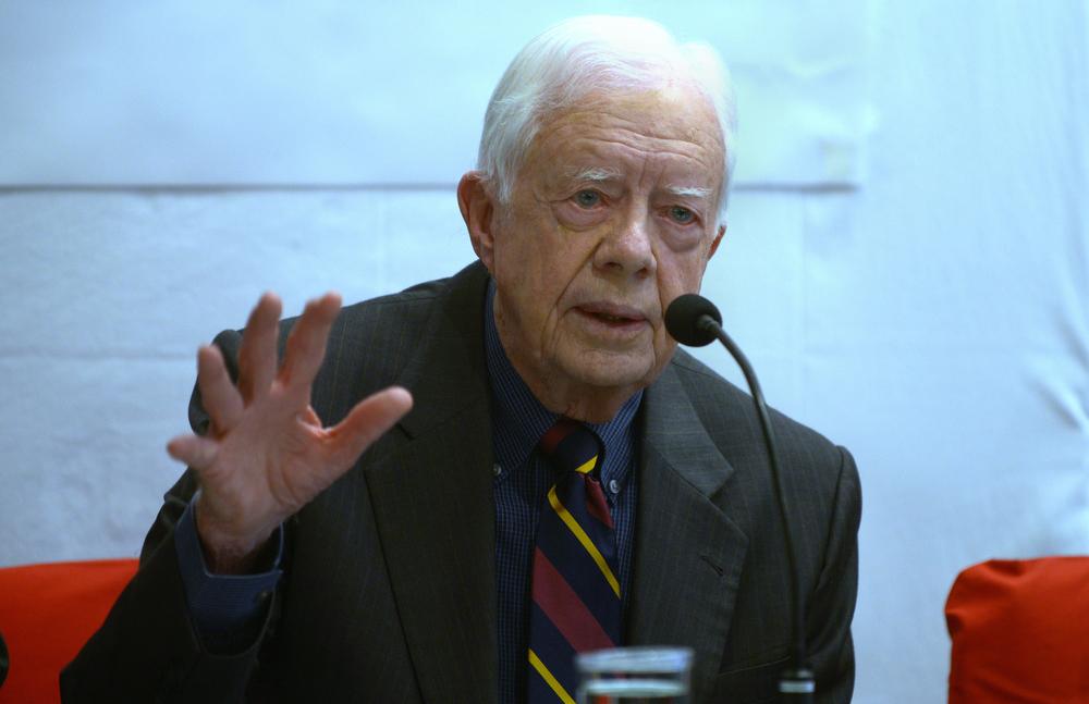 . Former US President Jimmy Carter addresses a press conference in Kathmandu on April 1, 2013.  Carter is in Kathmandu on a  four-day visit.  PRAKASH MATHEMA/AFP/Getty Images