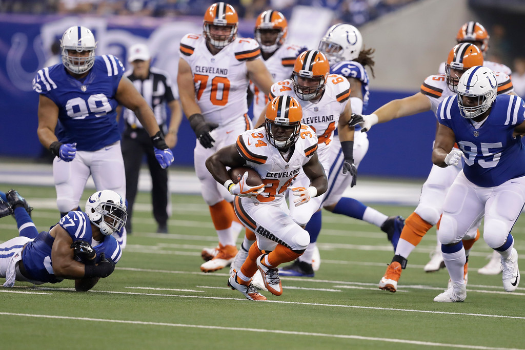 . Cleveland Browns running back Isaiah Crowell (34) runs against the Indianapolis Colts during the first half of an NFL football game in Indianapolis, Sunday, Sept. 24, 2017. (AP Photo/Darron Cummings)