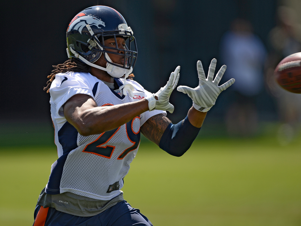 . Denver Broncos cornerback Bradley Roby (29) catches a pass during practice August 25, 2014 at Dove Valley.(Photo by John Leyba/The Denver Post)